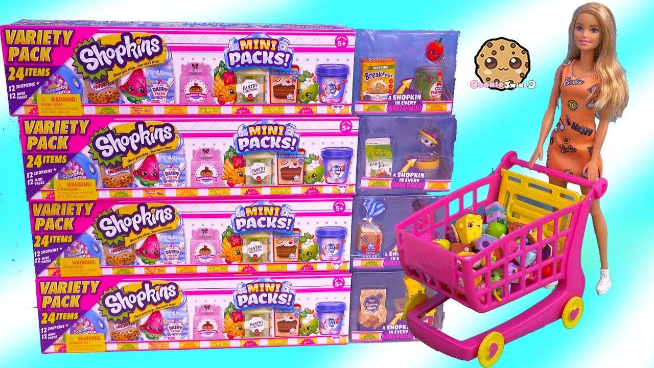 Barbie Shopping Cart Of Shopkins Season 10 Mega 20 Packs Surprise Blind Bags Youtube