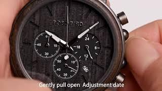 BOBO BIRD Luxury Wood Stainless Steel Men Watch Stylish Wooden Chronograph Timepieces