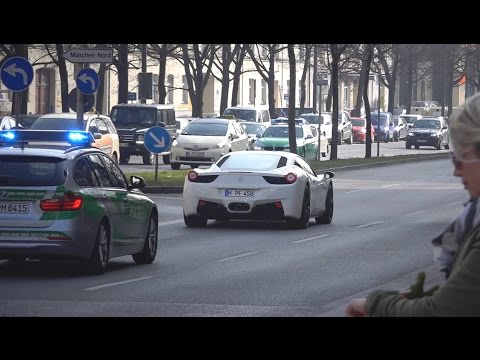 Extremely loud Ferrari 458 Italia chased by Police