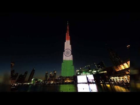 Burj Khalifa lights up With Indian Tricolour-Modi UAE Visit.