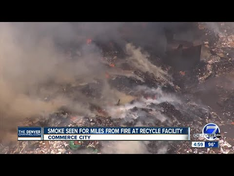 Trash piles at Waste Management facility in Adams County on fire again, smoke seen for miles