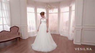 Свадебное платье А силуэт с прозрачным лифом от VESILNA™ модель 3051