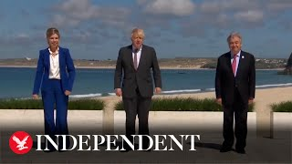 G7 leaders greeted by Boris Johnson for second day of summit in Cornwall