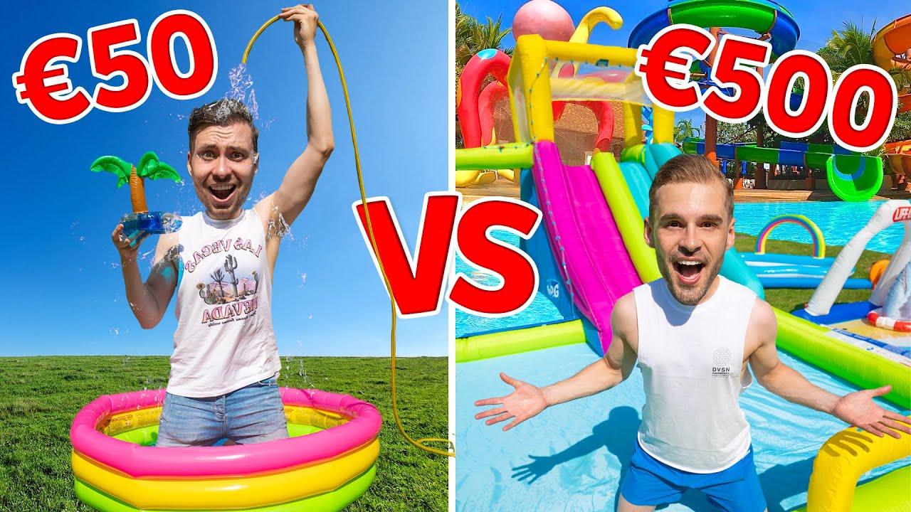 €50 VS €500 WATERPRETPARK BOUWEN! *Challenge* Met Rutger