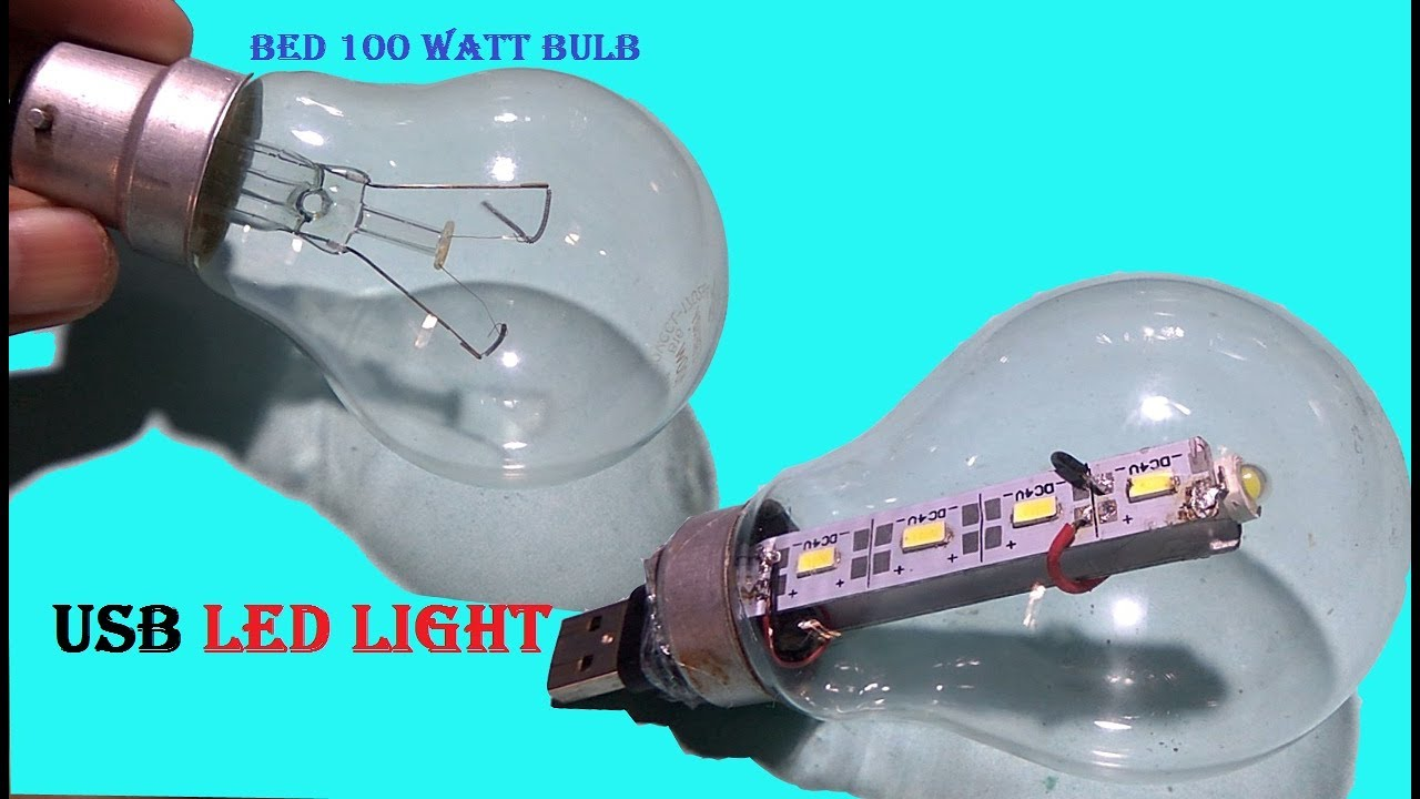 Canvert old 100watt fuse bulb into usb LED light