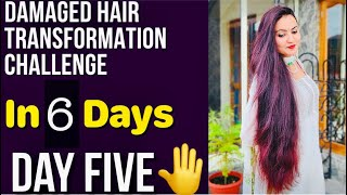 DAY 5 : 1 WEEK HAIR TRANSFORMATION CHALLENGE | Repair Your Extremely Damaged Dry Thin Hair in 6 Days
