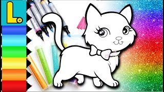 CAT Drawing and Coloring Book with Glitters for Kids   Learn Colors with Cute Kitty