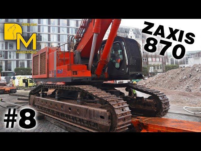 HITACHI ZAXIS 870 XXL LONGFRONT BAGGER SCHWERTRANSPORT ABBRUCH DEUTSCHLANDHAUS HAMBURG #8