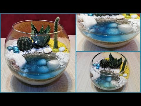 DIY cactus terrarium with resin water