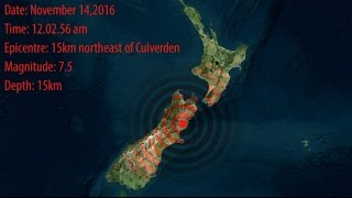 New Zealand Earthquake '2016' - A severe magnitude 7.5 quake struck near Culverden, Canterbury
