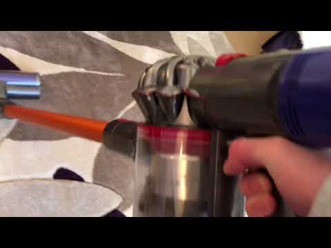 Dyson V8 Absolute vacuuming the house