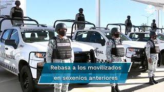 Sólo el estado de fuerza militar (117 mil 897 efectivos) rebasa por mucho a los militares movilizados por tareas de seguridad pública en los sexenios de Enrique Peña Nieto (54 mil 980) y Felipe Calderón Hinojosa (52 mil 807), respectivamente