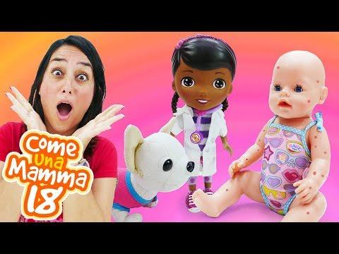 Giochi per bambini. La dottoressa Peluche visita Rachele. Video con le bambole Nenuco