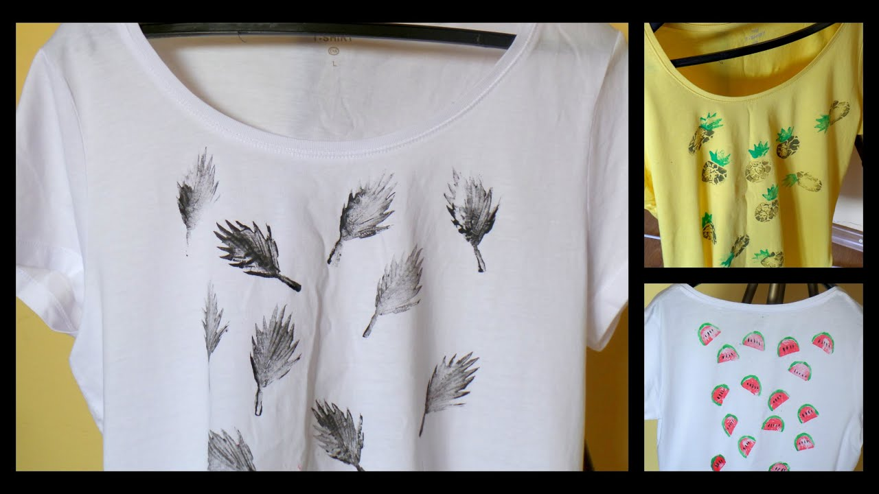 stamped t shirts diy using potatoes cool summer clothing idea by fluffy hedgehog youtube