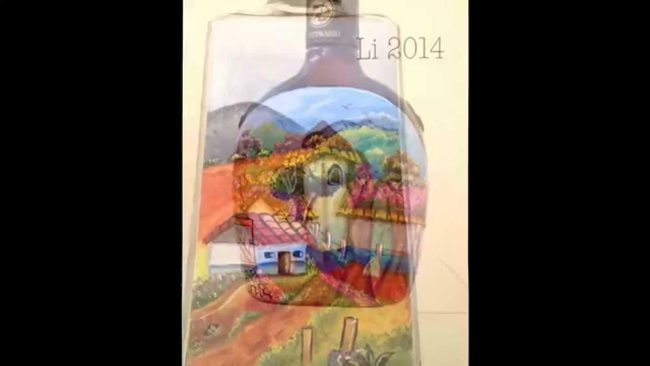 Botellas De Vidrio Decoradas En Relieve