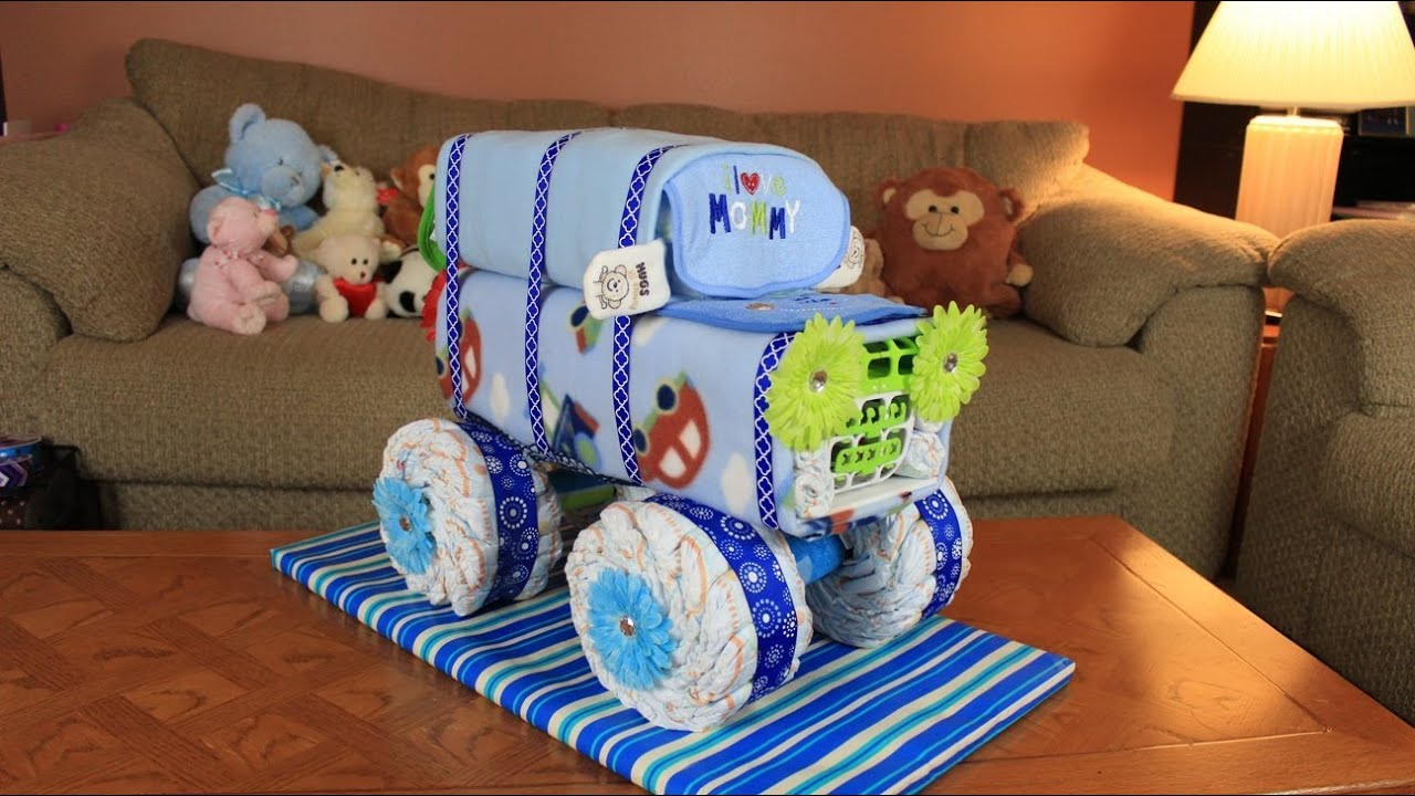 Red Tractor Diaper Cake
