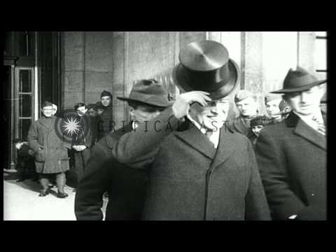 Delegates arriving in Paris for the Peace Conference in 1919. HD Stock Footage