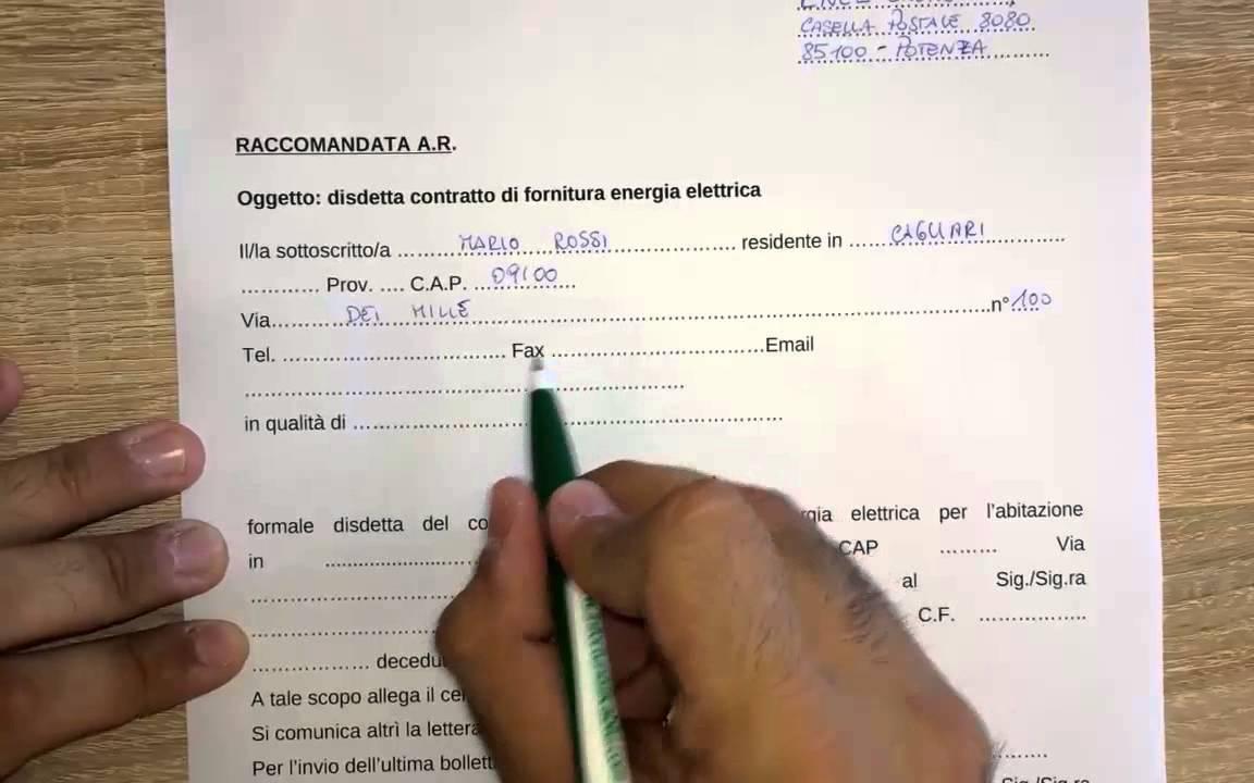 modulo disdetta enel decesso intestatario - youtube