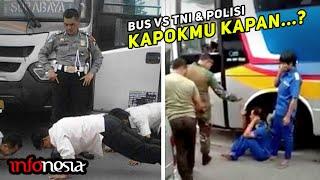 LANGSUNG CIUT...! Aksi Bus Ugal-Ugalan Dihadang Aparat Polisi & TNI