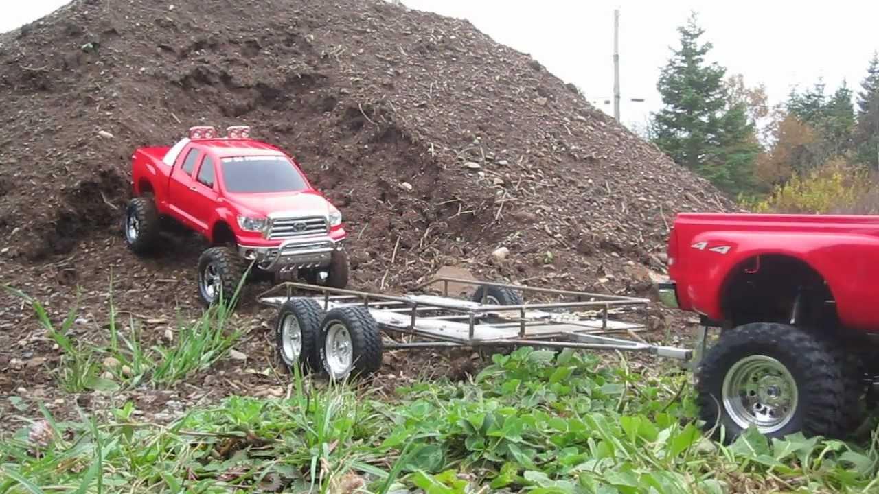Ford C Max >> Tamiya F350 Crew Cab Dually Towing Tundra - YouTube