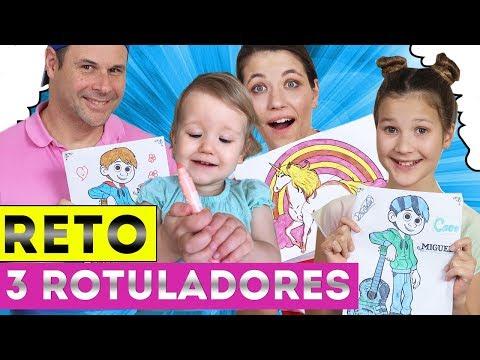DIBUJANDO CON 3 COLORES - Coco Y Unicornio   Reto 3 Rotuladores   3 MARKER CHALLENGE   YIPPEE FAMILY