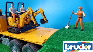 BRUDER toys RC action - excavators delivered by TRUCK! thumbnail