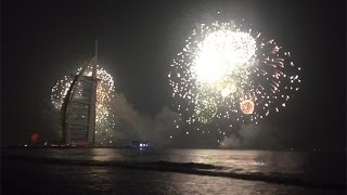 Fireworks to bring in 2015 at Burj Al Arab, Dubai