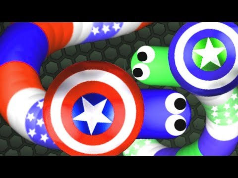 Slither.io Captain America Hunting THE BIGGEST SNAKE (Slitherio Funny/Best Moments)