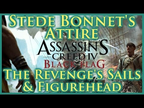 AC IV BLACK FLAG | STEDE BONNET'S OUTFIT | THE REVENGE'S UNICORN FIGUREHEAD & SAILS | DLC | HD