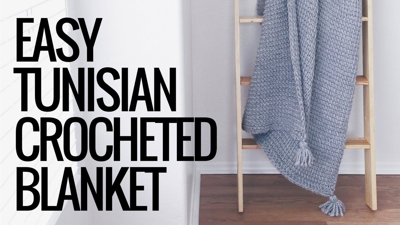 Easy Tunisian Crocheted Blanket With Tassels Youtube