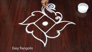 5 dot's peacock rangoli design for beginners // Easy Rangolis