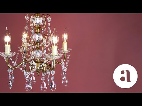 Madeleine 4 Light Vintage Gold Crystal Chandelier Product Video | Amalfi Decor