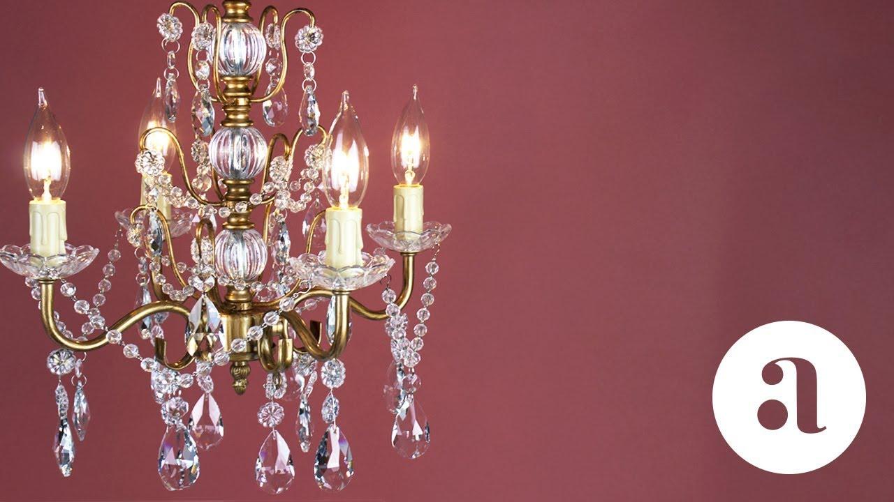 Madeleine 4 Light Vintage Gold Crystal Chandelier Product Video ...