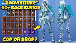 "NEW ""SNOWSTRIKE"" SKIN Showcased With 80+ BACK BLINGS! Fortnite Battle Royale (SNOWSTRIKE COMBOS)"