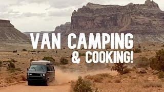 Van Camping Utah's Reṁote Desert Firebox Stove Cooking & Canyon Exploring Family Fun.