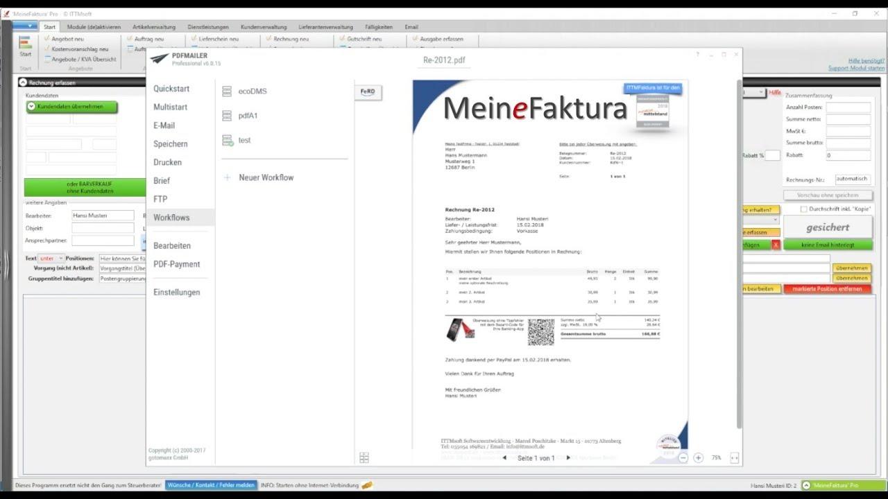 Rechnung Schreiben Mit Meinefaktura Rechnungsprogramm Youtube