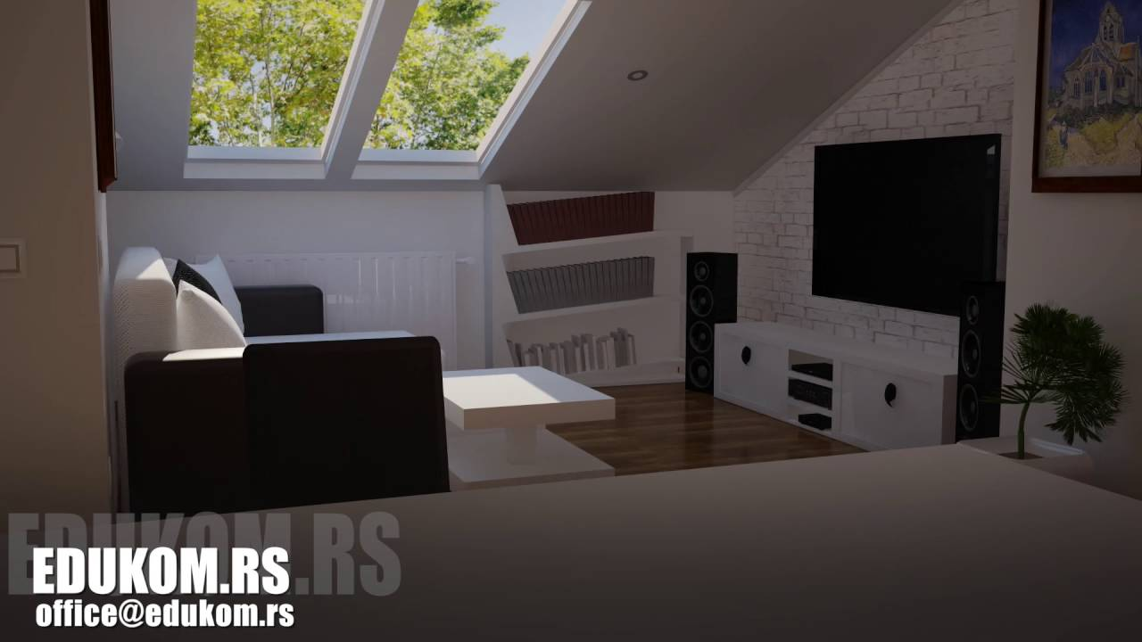 Sunny attic in the house with an interior - Vray Lighting in Cinema 4D