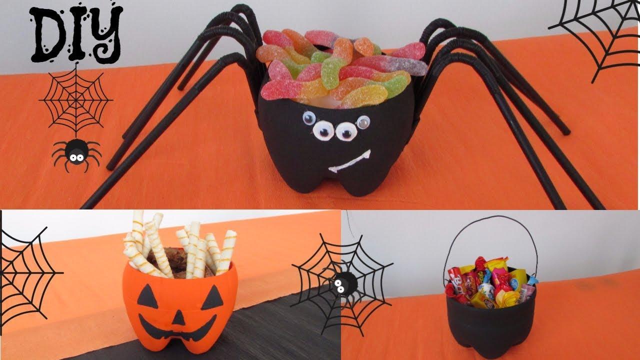 DIY Decoraç u00e3o Halloween 3 ideias feitas com garrafas pet #1 YouTube -> Decoração Simples De Halloween