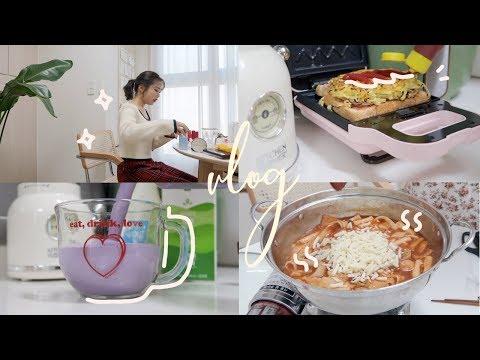 VLOG:: 2월의 자취생 집밥 브이로그🍚 새로운 자취템 믹서기 하울,미역국,떡볶이,토스트,곱창