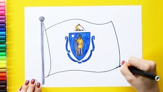 How to draw and color the Flag of Massachusetts State, USA