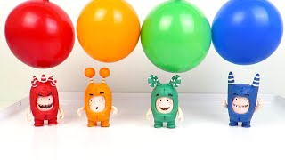 Oddbods vs Super Wings - Learn Colors with Colorful Balloons Wrong Heads Toys Playclaytv