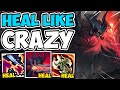 Every auto heals to full with max heal aatrox goredrinker is insane  league of legends