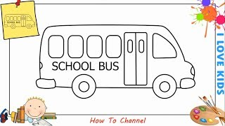 How to draw a school bus EASY step by step for kids, beginners, children 8