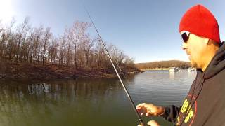 Jason Christie fishing a small jig and light line on a baitcaster