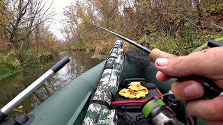 Ловля Щуки На Осінній Річці. Рибалка на спінінг.
