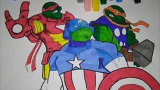 Teenage Mutant Ninja turtles Captain America vs Iron Man vs Thor coloring pages for kids TMNT