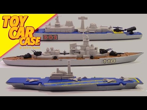 Matchbox SEA KINGS 3 War Ships from 1976 Toy Car Case