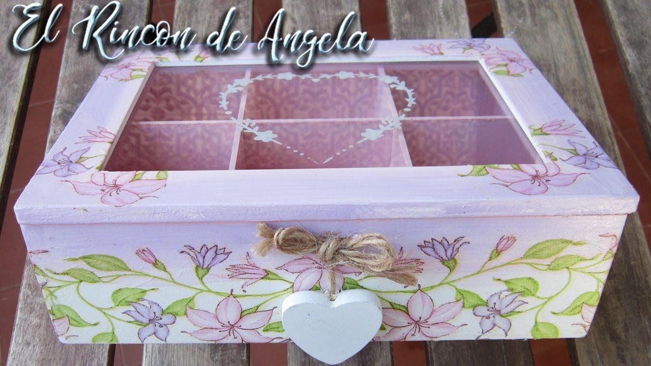 Caja de té decorada con decoupage estilo romantico,Diy manualidades