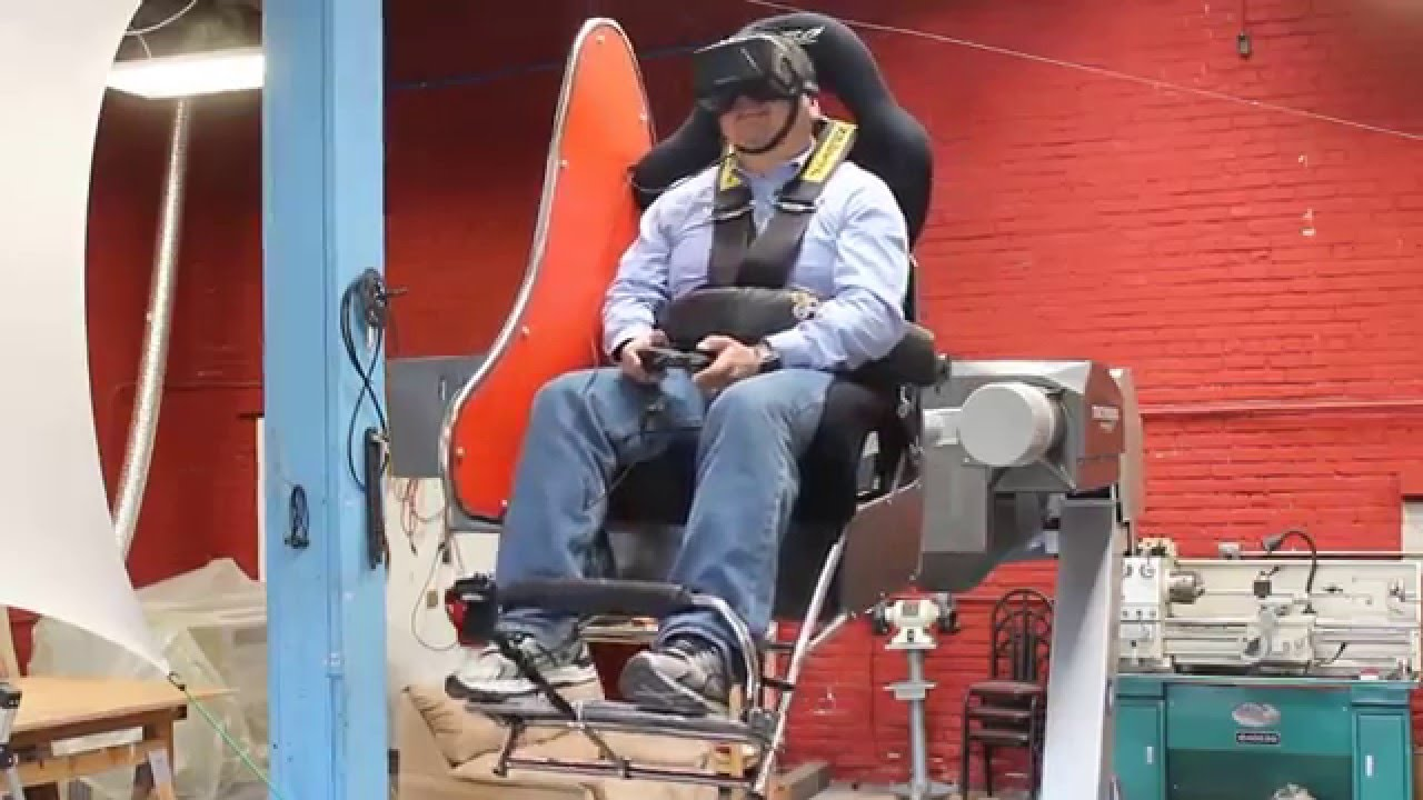 Strap into this chair on a giant simulator arm for the wildest VR