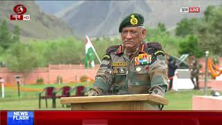 Army Chief General Bipin Rawat speaks to media after paying homage to martyrs in Dras